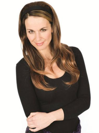 Amazing Long Brown Wavy Human Hair Half Wigs