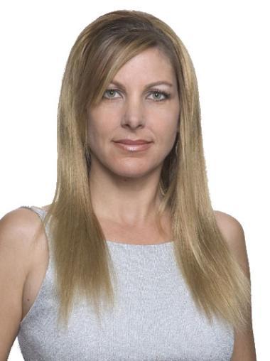 Sleek Long Blonde Natural Looking Straight Human Hair Wigs
