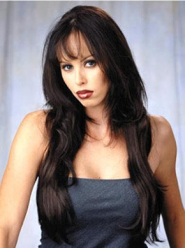 Modern Long Brown Wavy Half Wigs Human Hair