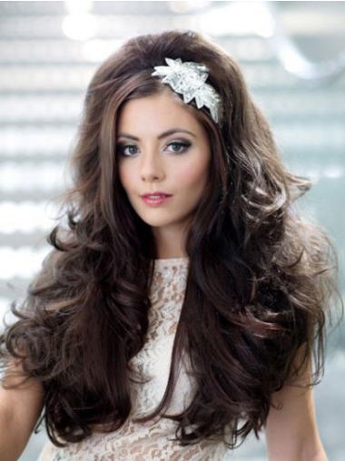 Long Capless Dark Brown Synthetic Half Wigs