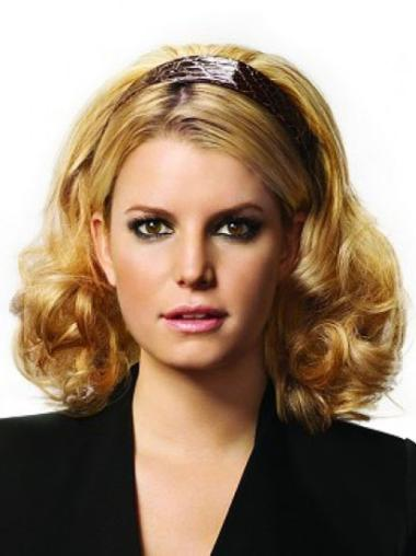 Durable Shoulder Length Capless Curly Half Wigs