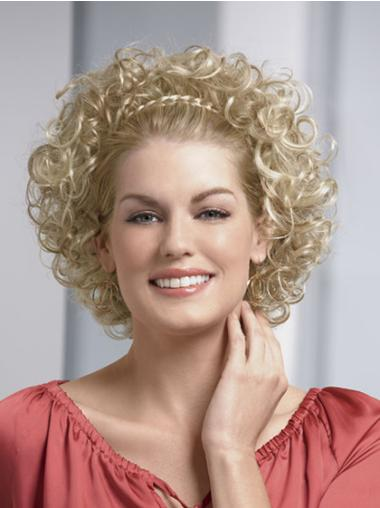 10 Inches Chin Length Capless Blonde Curly Half Wig