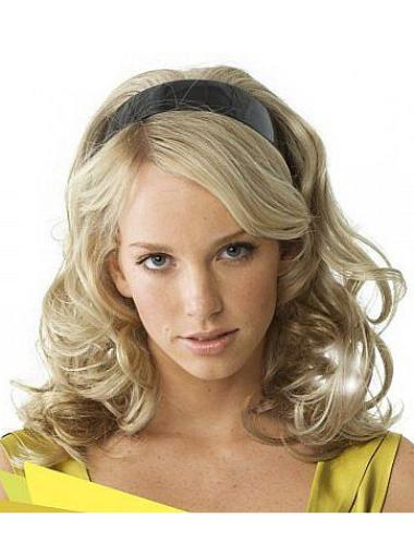 16 Inches Wavy Long Capless Half Wig Color Blonde