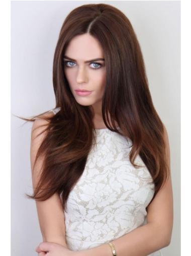 22 Inches Straight Auburn Long Capless Cute Half Wigs