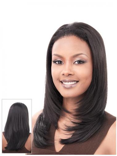 Long Straight Good Human Hair Blend Half Wigs