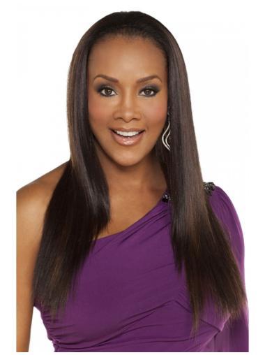 Modern Brown Long Human Hair Natural Half Wigs