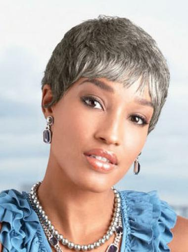 Synthetic Capless Straight Beautiful Grey Hair Wigs