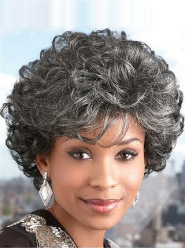 Curly Capless Synthetic Sassy Short Dark Grey Wig