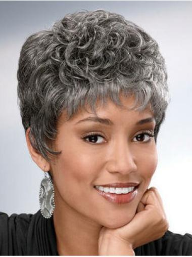 Capless Synthetic Cheap Short Grey Curly Wigs
