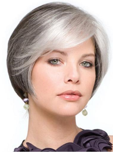 Designed Synthetic Straight Easy Care Styles For Grey Hair