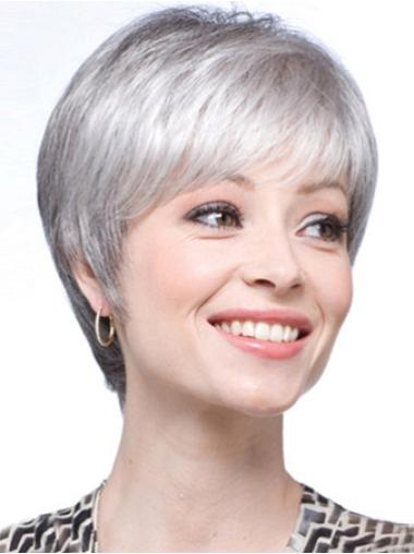 Flexibility Synthetic Straight Grey Lacr Front Wig