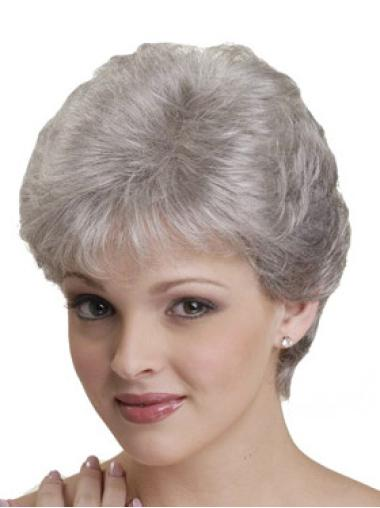 Straight Capless Synthetic Fabulous Grey Color Short Wigs