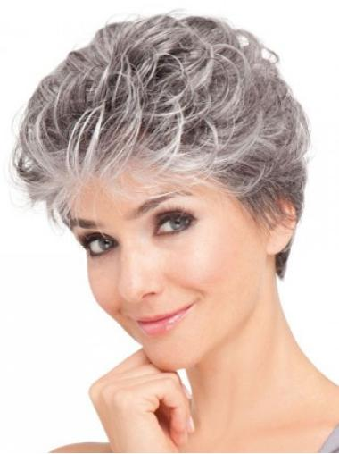Sleek Wavy Grey Synthetic Lace Front Wig