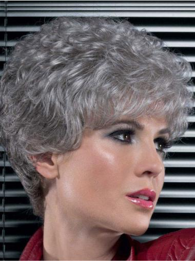 Modern Short Lace Front Curly Grey Color Synthetic Wigs