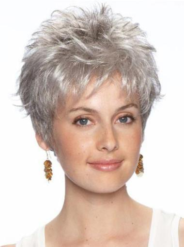 Incredible Synthetic Lace Front Wavy Grey Silver Wig