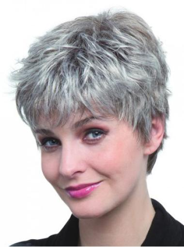 Straight Cropped Capless Synthetic Cheap Grey Hair Wigs