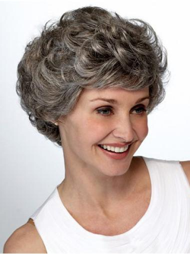 Lace Front Wavy Synthetic Best Srort Grey Wig
