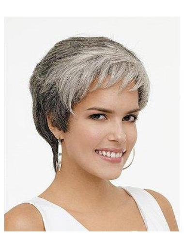 Soft Lace Front Wavy Synthetic Grey Short Wigs For Sale