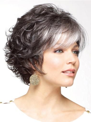 Durable Capless Curly Synthetic Grey Wigs