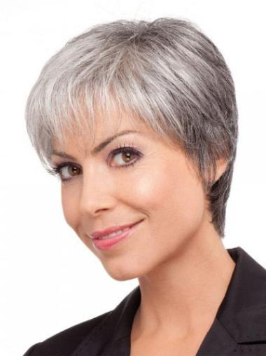 Great Short Lace Front Synthetic Grey Colored Wigs