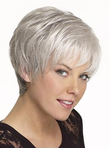 Exquisite Straight Synthetic Cheap Short Grey Wigs