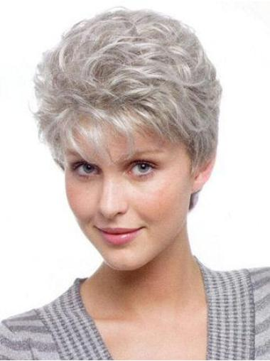 Perfect Wavy Synthetic Short Grey Hair Color Wigs