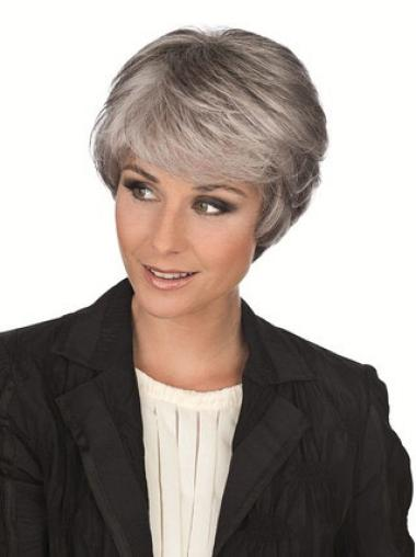 Fashionable Capless Straight Short Wigs With Grey