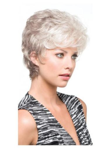 Style Capless Wavy Synthetic Cheap Short Grey Wigs