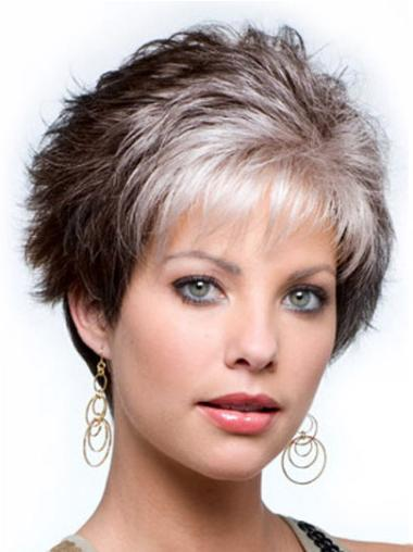 Good Cropped Wavy Synthetic 4 Inches Grey Wig For Woman