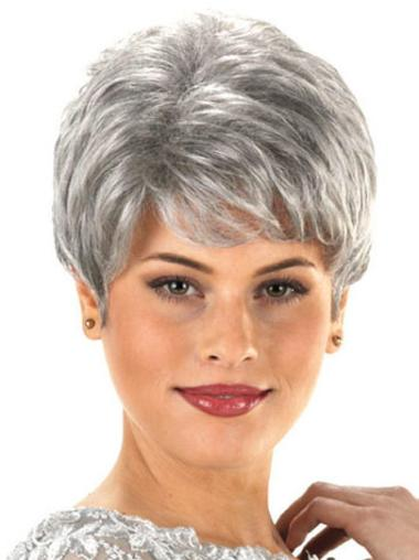 Cheapest Wavy Synthetic Short Pixie Grey Wigs