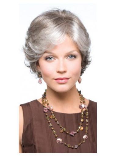 Fashion Short Capless Wavy Grey Natural Looking Wig