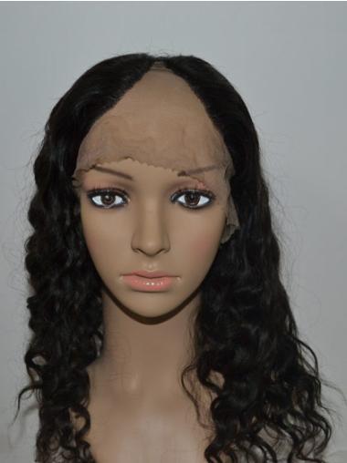 "18"" Long Curly Black High Quality 100% Human Hair Wigs"