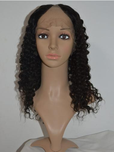 Black Curly Shoulder Length Modern U Part Natural Hair Wig