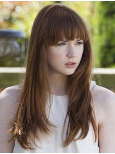 """18"""" Straight Brown With Bangs Modern Karen Gillan Wigs"""