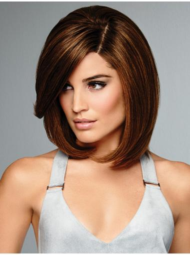 """Brown Bobs Straight 12"""" Cheapest Lace Front Real Hair Shoulder Length Wigs"""