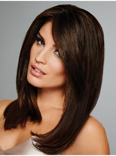 """Brown Layered Straight 15"""" Most Real Looking Wigs"""