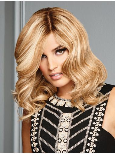 """Remy Blonde Layered Wavy 13"""" Amazing Human Hair Lace Front Wigs"""