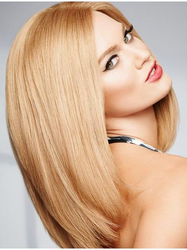 """Blonde Without Bangs Straight 14"""" Wigs Real Hair Cheap"""
