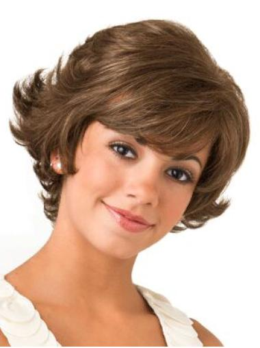 """Brown Bobs 8"""" Designed Synthetic Lace Front Short Wavy Hair Wig"""