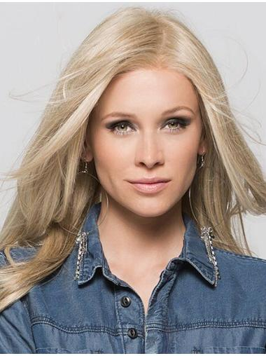 """Blonde Without Bangs Straight 16"""" Sleek Remy Monofilament Wigs"""