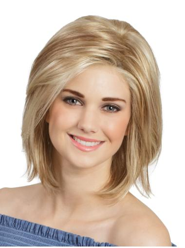 Monofilament Blonde Natural Wigs For Cancer Patients Chin Length