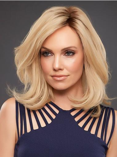 """Blonde 14"""" Straight Shoulder Length Monofilament Without Bangs Human Hair Wigs"""