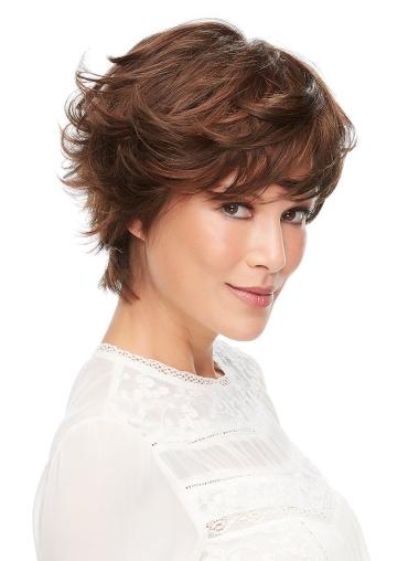 """Incredible 100% Hand-tied Wavy 6"""" Short Auburn Layered Synthetic Wigs"""