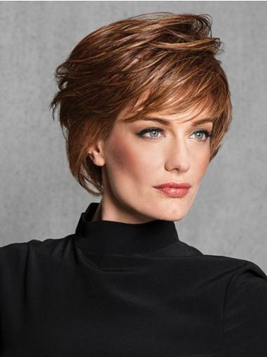 """Straight Capless 6"""" Short Cheapest Auburn Layered Synthetic Wigs"""