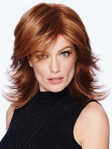 "12"" Shoulder Length Straight Capless Auburn Layered Synthetic Wigs"