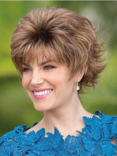 "Wavy Capless 6"" Short Cheap Brown With Bangs Synthetic Wigs"
