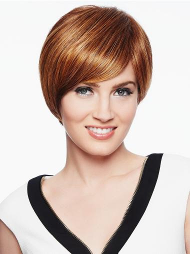 """Straight Capless 6"""" Short Amazing Copper With Bangs Synthetic Wigs"""