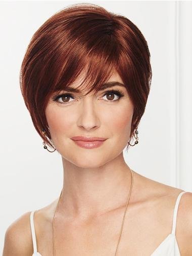 """Straight Capless 8"""" Cropped Hairstyles Auburn Boycuts Synthetic Wigs"""