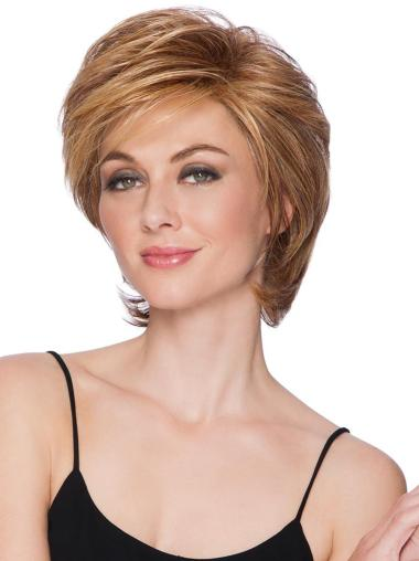 "Straight Capless 8"" Short High Quality Blonde Layered Synthetic Wigs"