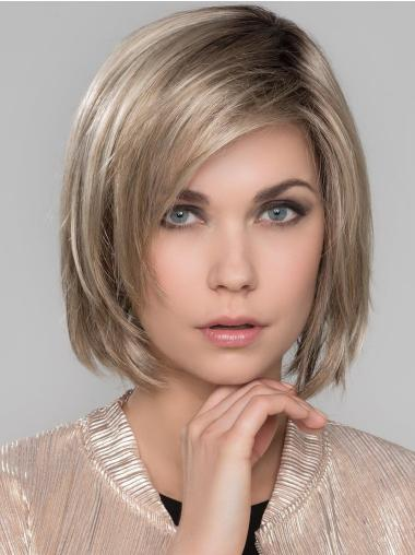 """Synthetic With Bangs 10"""" Chin Length Straight Platinum Blonde Mono Wigs"""